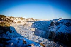 Gullfoss på is Royaltyfri Fotografi