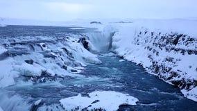 Gullfoss siklawy w zimie lokalizować wzdłuż złotej okrąg trasy, Iceland zbiory
