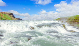 Gullfoss vattenfall Guld- cirkelrutt iceland arkivfoto