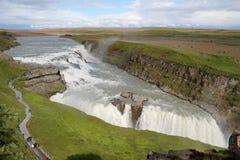 Gullfoss vattenfall, Island. Arkivbilder