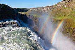 Gullfoss vattenfall, Island. Royaltyfri Bild