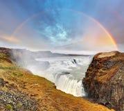 Gullfoss vattenfall, Island Arkivbild