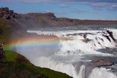 Gullfoss vattenfall och regnbåge Royaltyfria Bilder