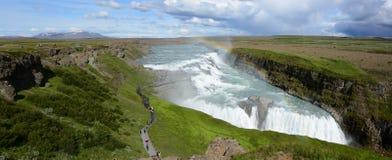 Gullfoss vattenfallpanorama Fotografering för Bildbyråer