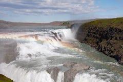Gullfoss - Wasserfall, ö Arkivbild