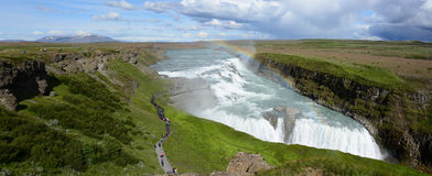 Gullfoss-Wasserfallpanorama Stockbild