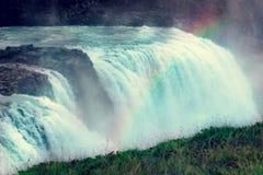 Gullfoss Waterfal isländskalandskap fotografering för bildbyråer