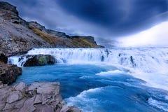 Gullfoss Waterfal isländskalandskap royaltyfria bilder