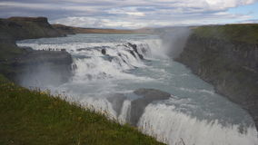 Gullfoss waterfall. Aerial to the massive Gullfoss waterfall which is a part of Golden Circle in Iceland Royalty Free Stock Photography