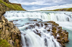Gullfoss Waterfall in the canyon of Hvita river - Iceland Royalty Free Stock Photo
