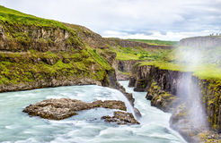 Gullfoss Waterfall in the canyon of Hvita river - Iceland Stock Images