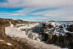 Gullfoss waterfall almost frozen royalty free stock photography