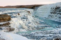 Gullfoss waterfall frozen at winter, Iceland Royalty Free Stock Photos