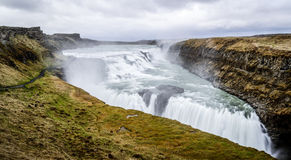 Gullfoss waterfall, Golden Circle tour, Iceland. Panoramic shot of Gullfoss waterfall, Golden Circle tour, Iceland Royalty Free Stock Images