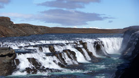 Gullfoss waterfall in Iceland. The Gullfoss (golden) waterfall in the Hvita (white) river in spring in Iceland stock images