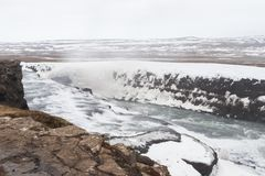 Gullfoss is a waterfall located in the canyon of the Hvítá river in southwest Iceland stock image