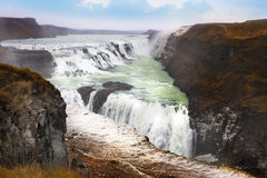 Gullfoss waterfall the most popular tourist attractions in Icela Royalty Free Stock Photo