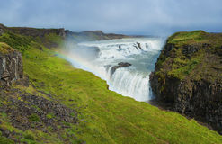 Gullfoss waterfall and rainbow Stock Photos