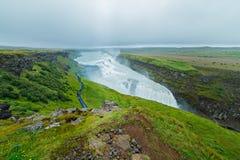 Gullfoss waterfall and rainbow Royalty Free Stock Photography