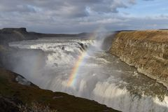 Gullfoss waterfall with rainbow Stock Photos