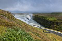 Gullfoss Waterfall, southern part of Iceland, at overcast weathe Royalty Free Stock Images