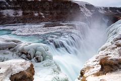 Icy Gullfoss waterfall in winter Royalty Free Stock Photography