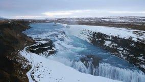 Gullfoss waterfall in Winter, Iceland stock video