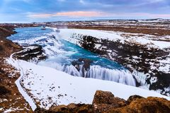 Gullfoss waterfall in Winter, Iceland Royalty Free Stock Photos