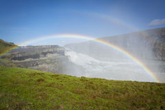Gullfoss Waterfalls Iceland with the rainbow. Gullfoss Waterfalls Iceland and a spectacular rainbow Stock Photos