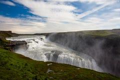 gullfossiceland vattenfall arkivbild