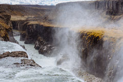 gullfossiceland vattenfall Arkivfoton