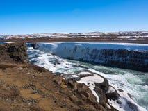 gullfossiceland vattenfall Royaltyfri Bild
