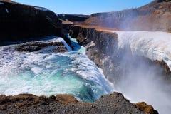 gullfossiceland vattenfall Fotografering för Bildbyråer