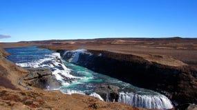 Gullfossoverzicht van de grootste waterval in IJsland stock afbeeldingen