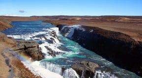 Gullfossoverzicht van de grootste waterval in IJsland Royalty-vrije Stock Afbeelding