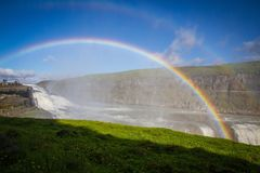 Gullfossur. Rainbow over a waterfall in Iceland Stock Image