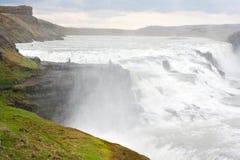 Gullfosswaterval bij de zomer, IJsland Stock Foto's