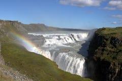 Gullfosswaterval en een regenboog Stock Afbeelding