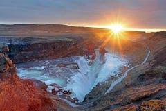 Gullfosswaterval IJsland stock foto's