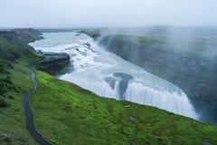 Gullfosswaterval, toeristische attractie van IJsland Stock Foto's
