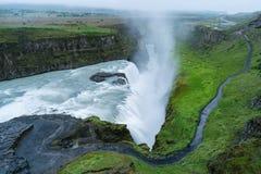 Gullfosswaterval, toeristische attractie van IJsland Royalty-vrije Stock Foto