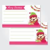 Gullig älvaflicka med Xmas-gåvapåsen under den färgrika illustrationen för buntingvektortecknad film för julkortdesign Fotografering för Bildbyråer