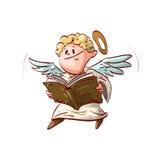 Gullig ängel för tecknad film som rymmer en bok stock illustrationer