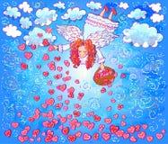 Gullig ängel med korgen Royaltyfri Illustrationer