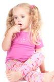 gullig äta flicka för godis little studio Royaltyfri Bild