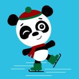 Gullig åka skridskor panda också vektor för coreldrawillustration Gulligt Kawaii roligt tecken vektor illustrationer