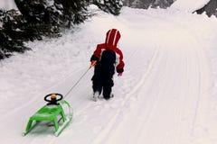 Gullig årig flicka som spelar i snön royaltyfri foto