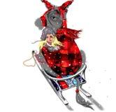 Gullig åsna som kramar en gullig liten flicka som sitter på en släde i vinter Arkivbild