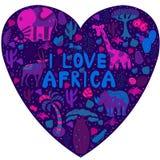 Gullig Afrika modell i kontur av hjärta med vilda djur Royaltyfria Bilder