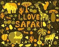 Gullig Afrika modell med ord Royaltyfria Bilder